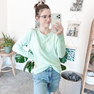 J. Crew Mint Green Cashmere Crewneck Sweater